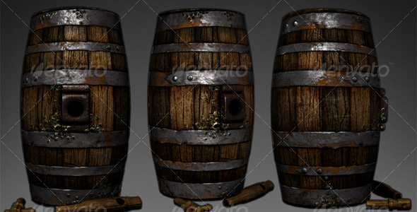Lowpoly Wooden Wine Barrel