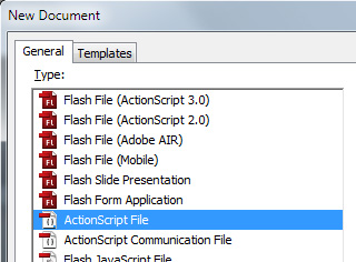 Create a new ActionScript file.