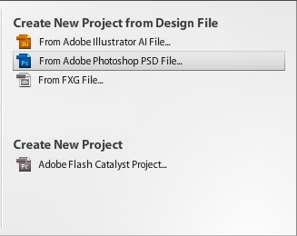 Create a New Project From PSD