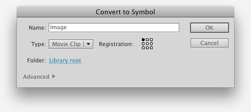 The Convert to Symbol dialog