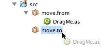 Drag and drop classes form one package to another
