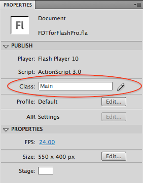 Properties panel in Flash Pro