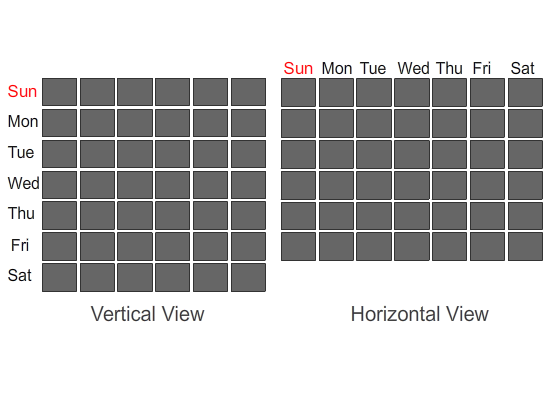 Horizontal and Vertical Calendars