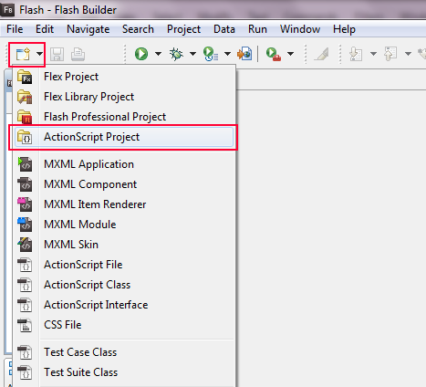 Flash Builder Select Project Menu.