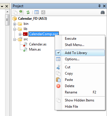 Add CalendarComp.swc to library.