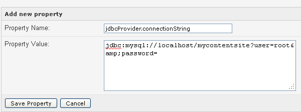 jdbcProvider connection string
