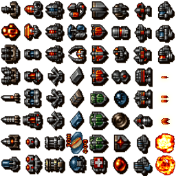 The new spritesheet with bullets and explosions