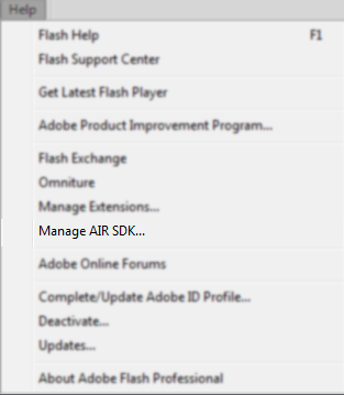 Enable the Latest AIR SDK in Flash Professional CS5 5+