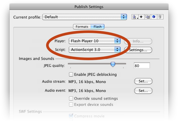 Flash version settings