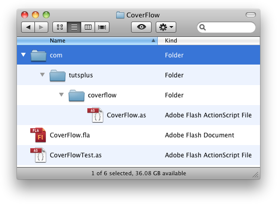 The project folder with the CoverFlow class