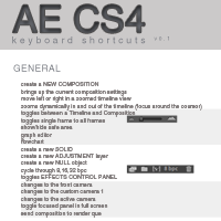 Adobe After Effects CS4 Keyboard Shortcuts
