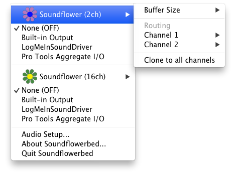 Interface of Soundflowerbed