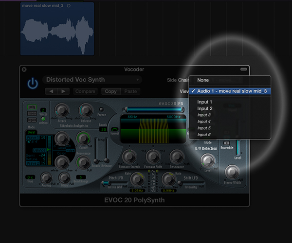 Using Logic Pro's Sidechain dropdown, select the audio track that you want to use as the vocoder source signal