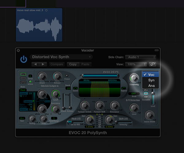 "In the Evoc 20|PS select ""voc"" from the signal dropdown menu to switch the synth to vocoder"