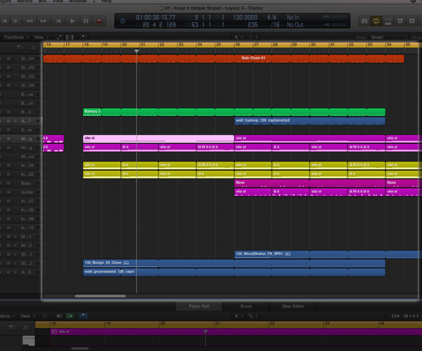 The arrangement area is where all the various parts of your composition come together to form your completed track