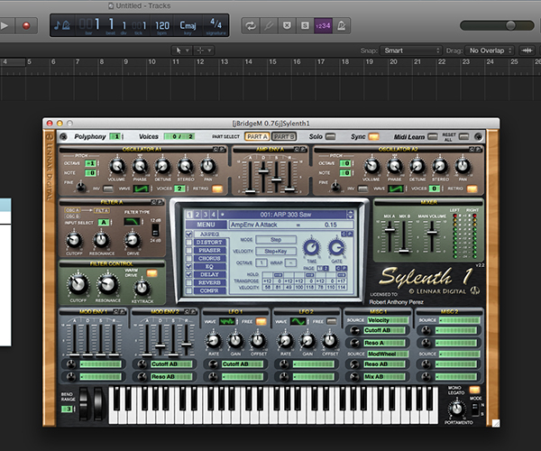 Sylenth1 running inside of Logic Pro X using Metaplugin in combination with jBridgeM