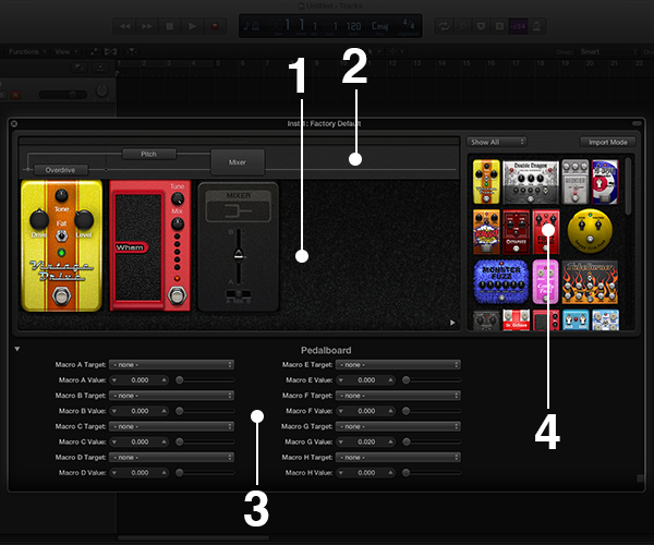 Logic Pro X Pedalboard recreates over 35 famous stomp boxes
