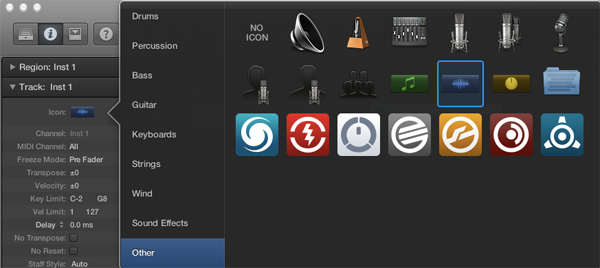 The NI suite of icons in Logic X.