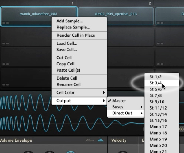 You can send a Sample Cell or Bus to a Direct Output, which will send the signal to your host DAW via a separate channel