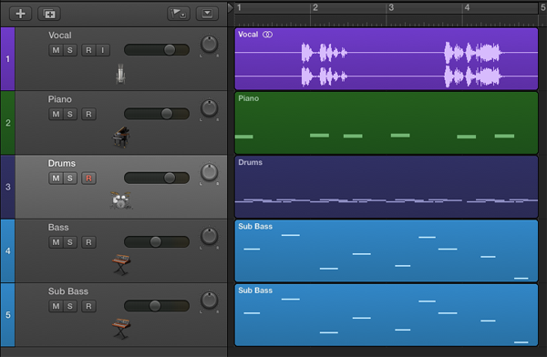 The Main Window with a recorded audio track and four instrument tracks, one of which is a multi-output (the Ultrabeat drum track).