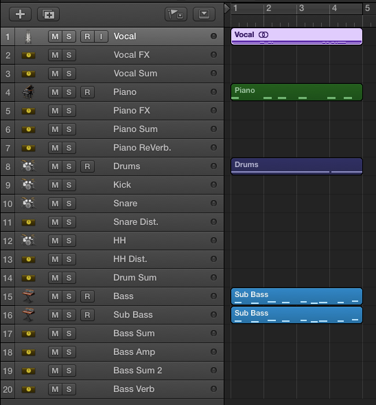 The Main Window after creating the new tracks and ordering them according to signal flow.