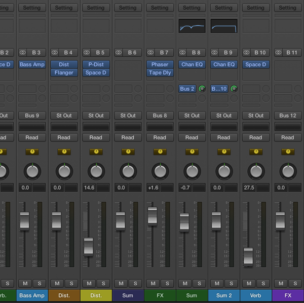 A portion of the Mixer after adding some send effects and drum outputs.  A fairly big mess considering this is the result of just five sound sources (all sound types are color coded and should ultimately be next to one another).