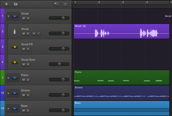 The Main Window after stacking all of the available tracks and relabeling.  The Vocal stack has been exposed by clicking the disclosure triangle to the left.