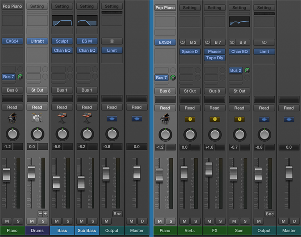 The left image shows the Mixer with audio and auxiliary tracks filtered.  The right shows the Mixer with the piano instrument highlighted and the Single option selected.