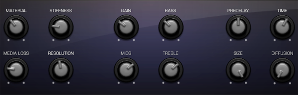 The default Smart Control Panel.  The four controls on the left are for Sculpture parameters, the middle four for Bass Amp parameters and the four on the right for the Rverb parameters.