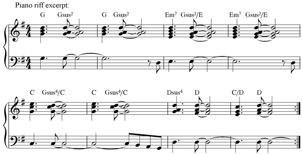 Piano riff piece harmonies