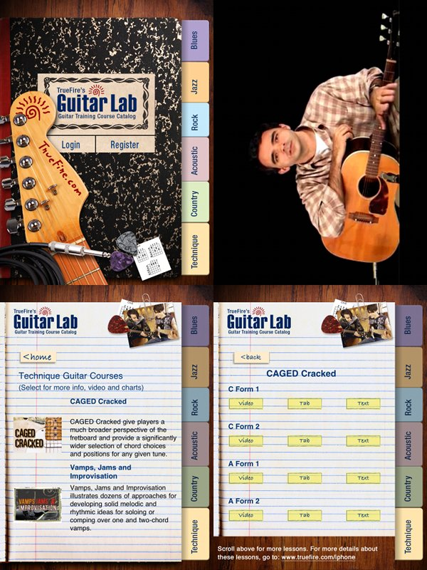 TrueFire's Guitar Lab app streams video guitar lessons with text, standard notation and guitar
