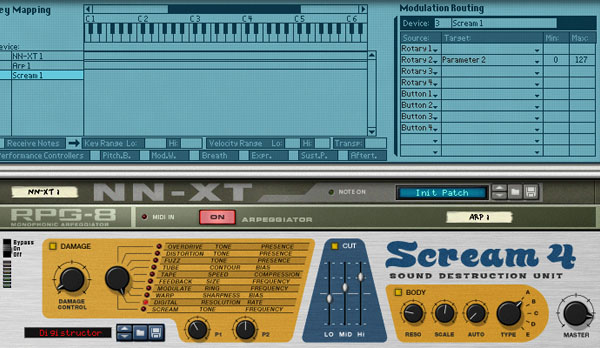 Например, подключите Scream 4 к NN-XT. . Откройте патч Digistructor, котор