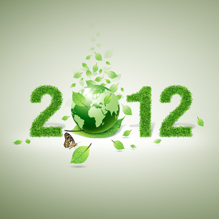 2012 green world and green leaf and butterfly