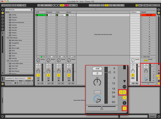 how to use the cross fade in ableton