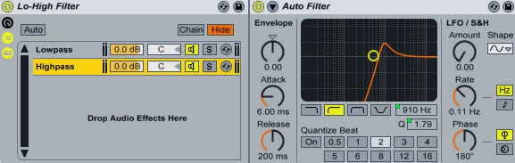 Quick Tip: Single Low/High Pass Filter for Ableton Live
