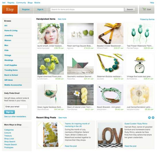Etsy is an ecommerce platform aimed at craftspeople