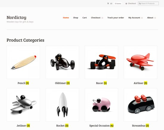 An example Wordpress store
