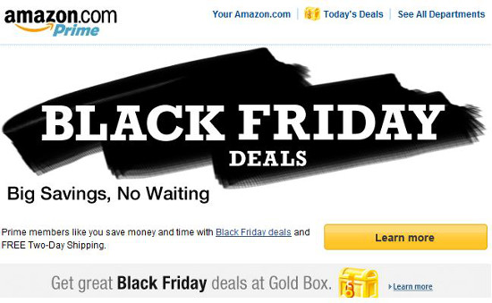 Black Friday being shown heavily promoted on Amazon