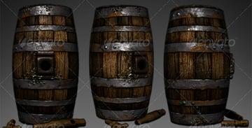 Lowpoly Wooden Wine Barrel