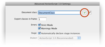 The ActionScript 3.0 Settings window; click on the checkmark button.