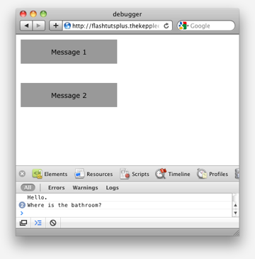 The messages in Safari's JavaScript Console