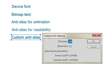 Different text rendering modes in Flash