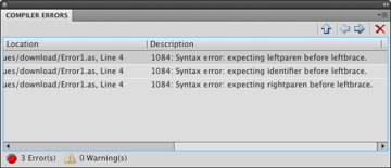 The Compiler Errors Panel
