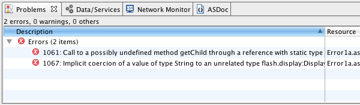 """The Flash Builder Compiler Errors panel, or the """"Problems"""" panel"""