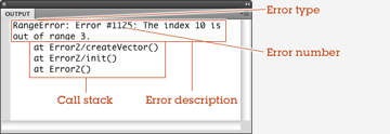 The two main sections of the run-time error