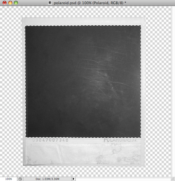 Select with the pen tool the inner area of the polaroid picture