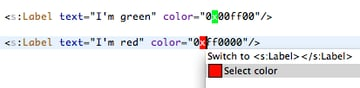 Use Quick Fix to activate the color chooser