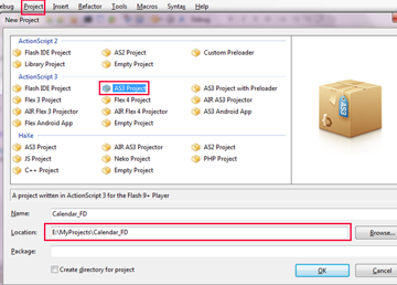 FlashDevelop Select Project window