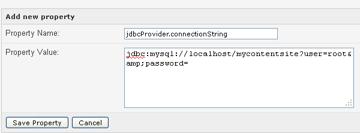 jdbcProvider connection string