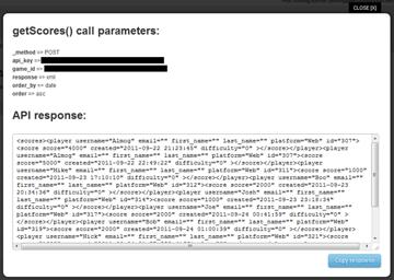 Get Scores API Response XML
